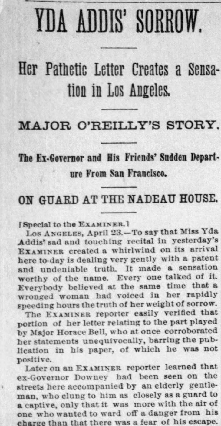 Yda Downey in SF and LA detail The_San_Francisco_Examiner_Tue__Apr_24__1888_
