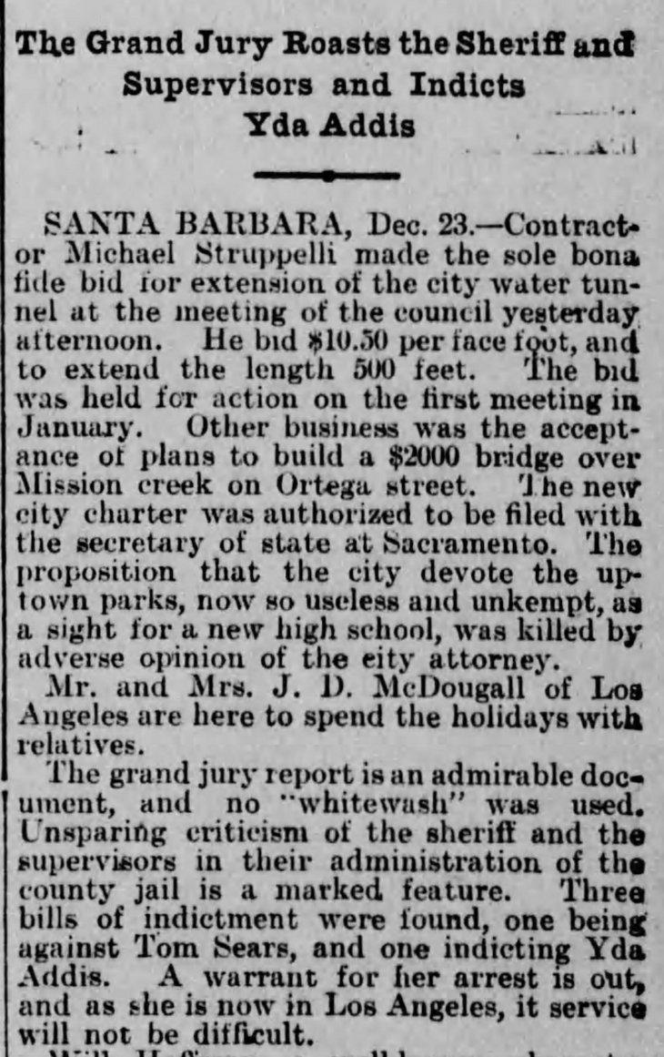 Yda GJ indictment arrest warrant Los_Angeles_Herald_Sat__Dec_24__1898_