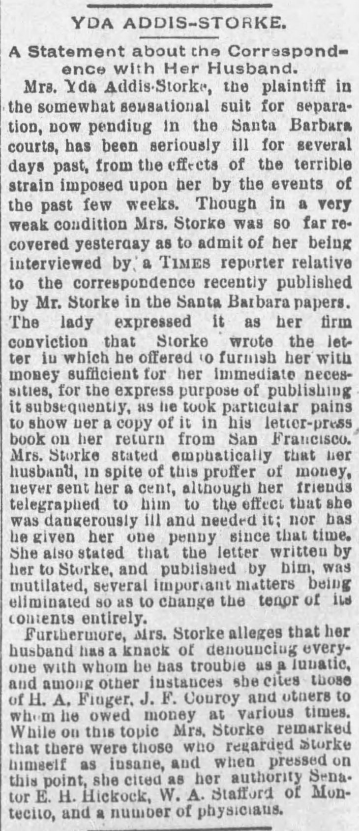 Yda interview Storke insane The_Los_Angeles_Times_Sat__Aug_22__1891_
