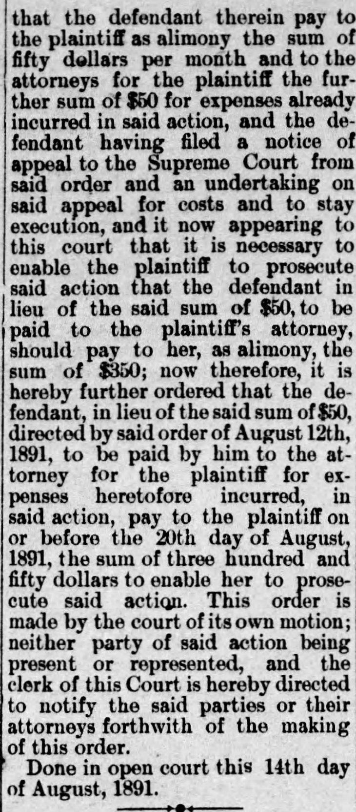 Yda Storke alimony Daily_Independent_Fri__Aug_14__1891_
