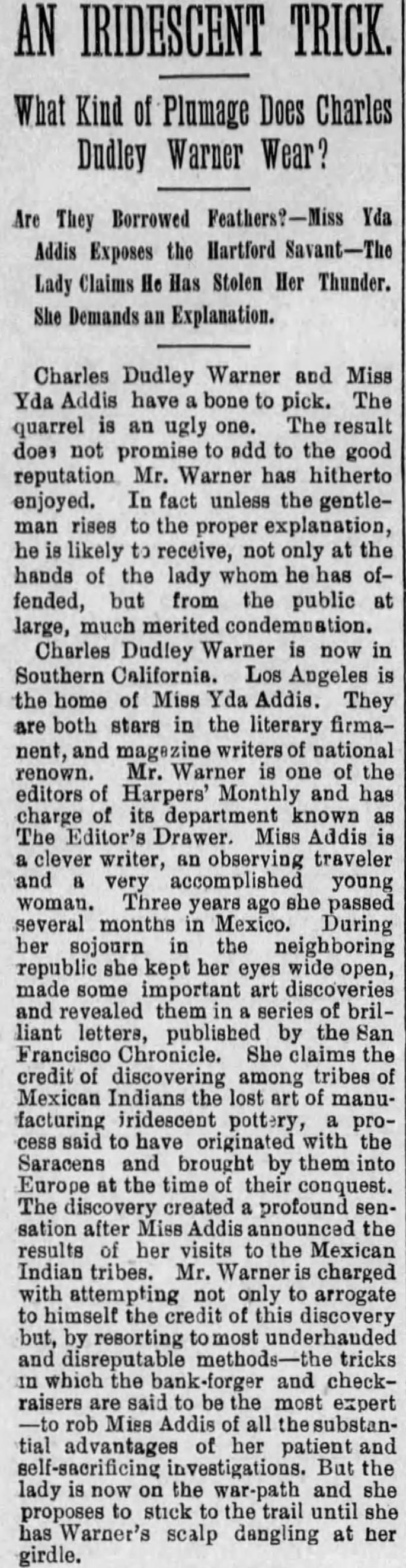 Yda Warner dispute first part The_Evening_Express_Tue__Jun_24__1890_