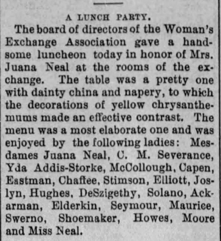 Yda Women's Exchange Assn lunch The_Evening_Express_Mon__Nov_23__1891_