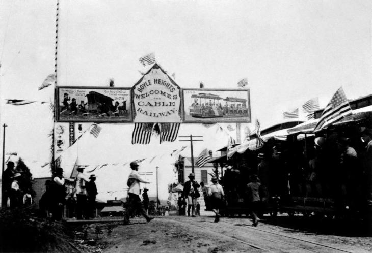 0819185 1st Cable Car Arrives At Boyle Heights 2000.217.1.26