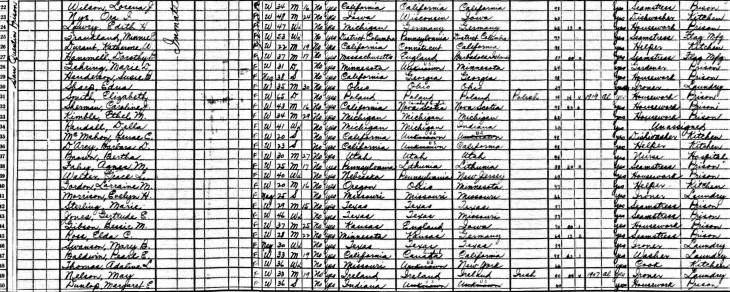 Elda C. Ross 1930 census San Quentin