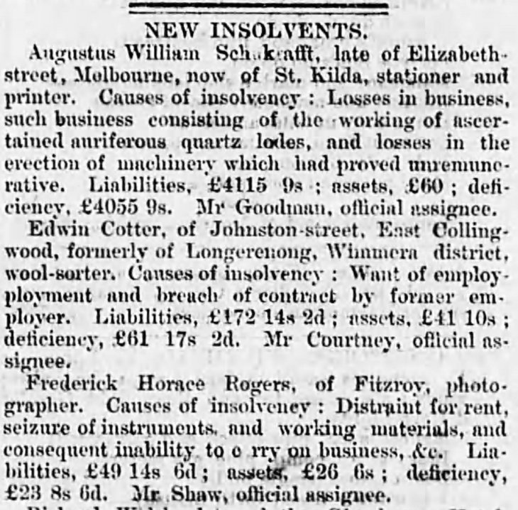 FH Rogers photographer insolvency The_Age_Thu__Nov_1__1866_