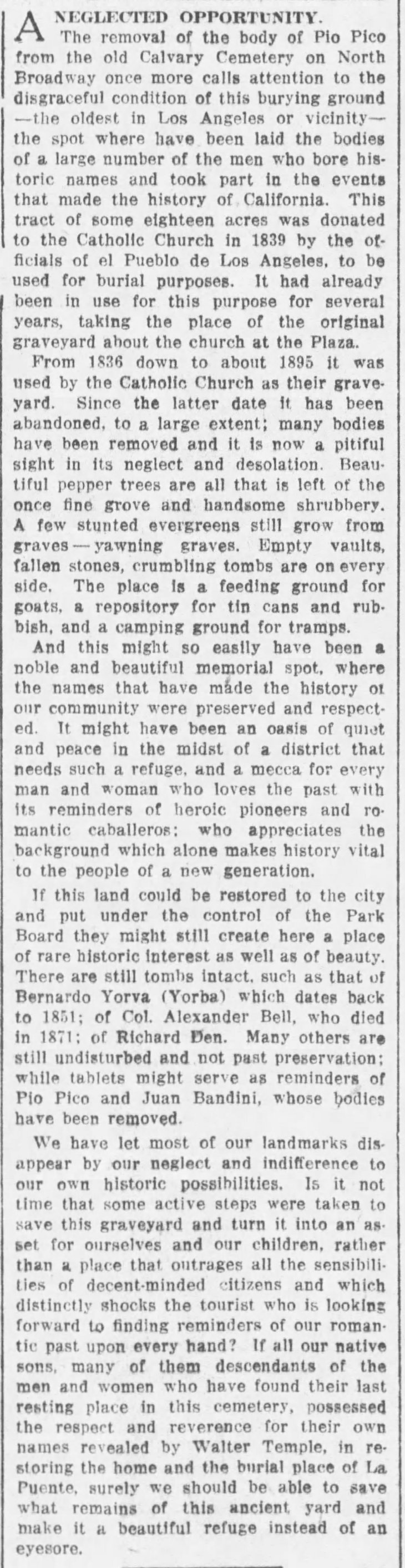 Pio Pico removal from Calvary Cemetery editorial The_Los_Angeles_Times_Tue__Mar_1__1921_