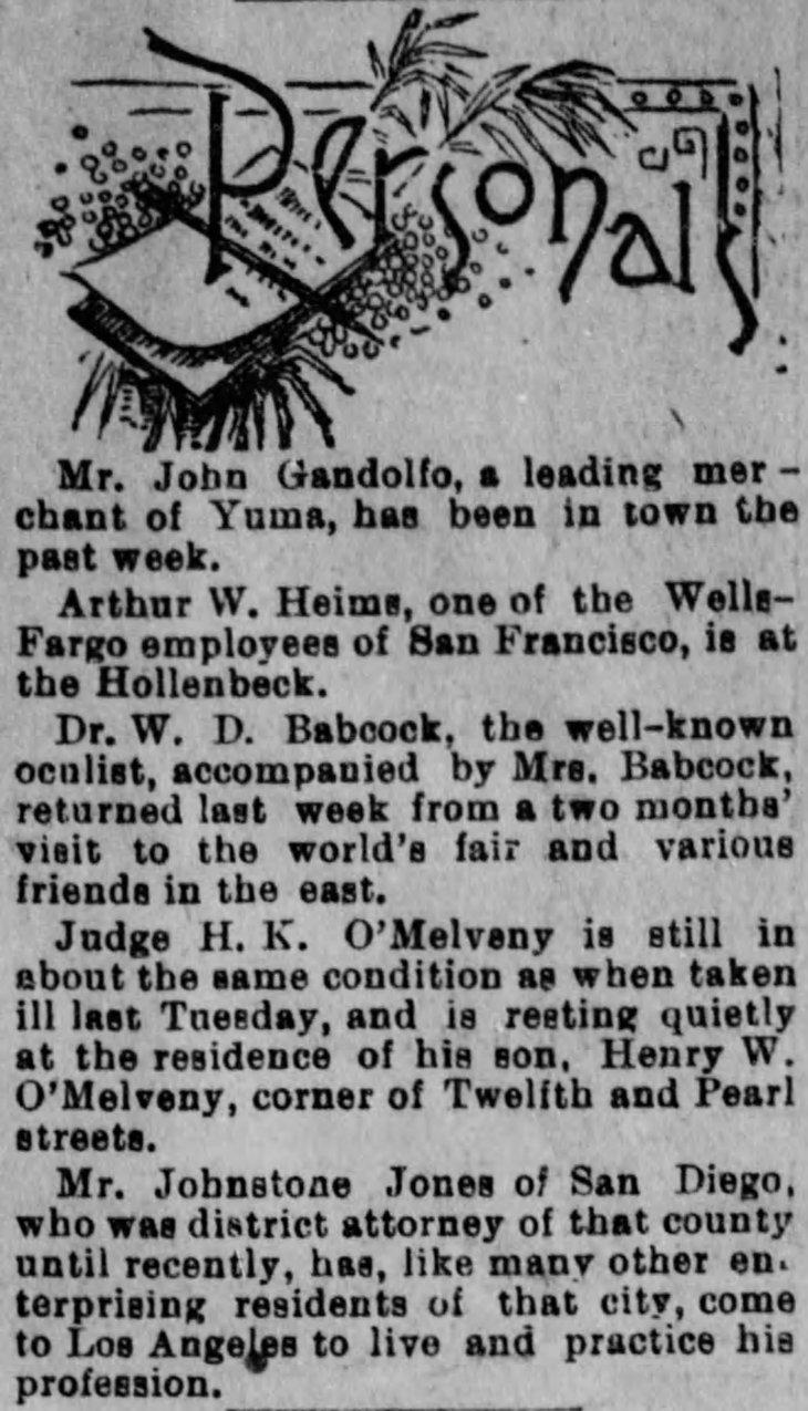 Johnstone Jones to LA from SD Los_Angeles_Herald_Sun__Nov_12__1893_