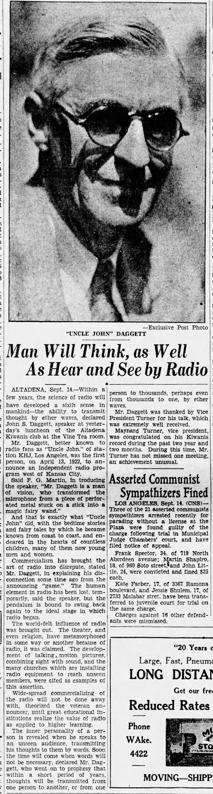 Daggett speech on radio The_Pasadena_Post_Sat__Sep_14__1929_