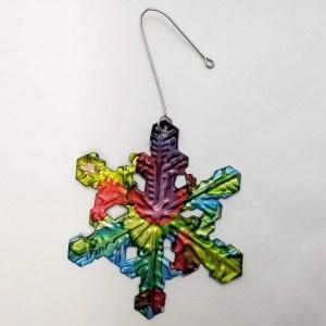 Snow Flake Christmas Tree Ornament - Metal Rainbow
