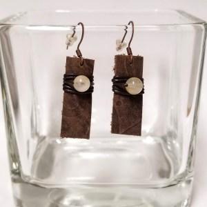 Leather Bar Drop Earrings