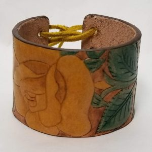 Hand Tooled Rose Bracelet - Yellow