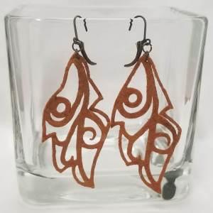 Suede Leaf Earrings - Orange
