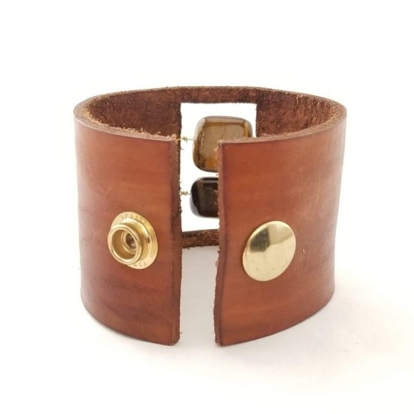 Leather and Tigers Eye Bracelet - Back