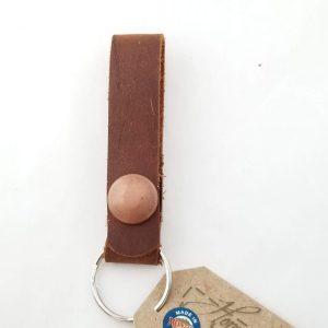 Belt Loop Leather Key Chain - Plain Antique Copper Snap