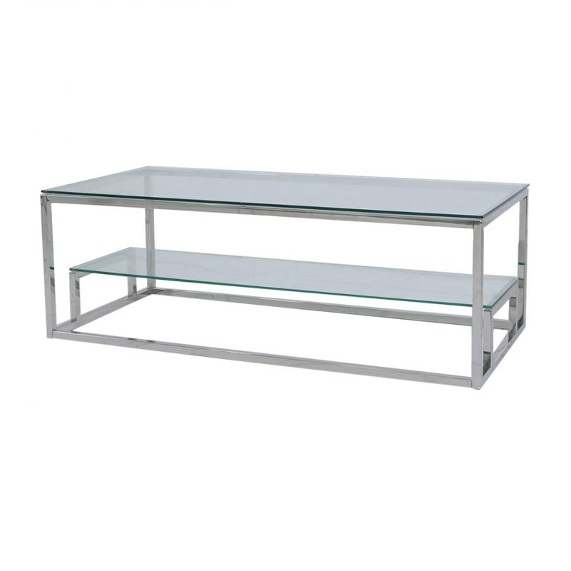 harvey steel glass tiered coffee table