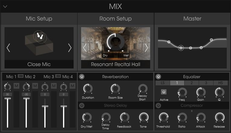 Arturia Piano V Review mic setup, room setup and master settings image