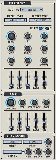 Rob Papen QUAD Review filter, amp and play mode