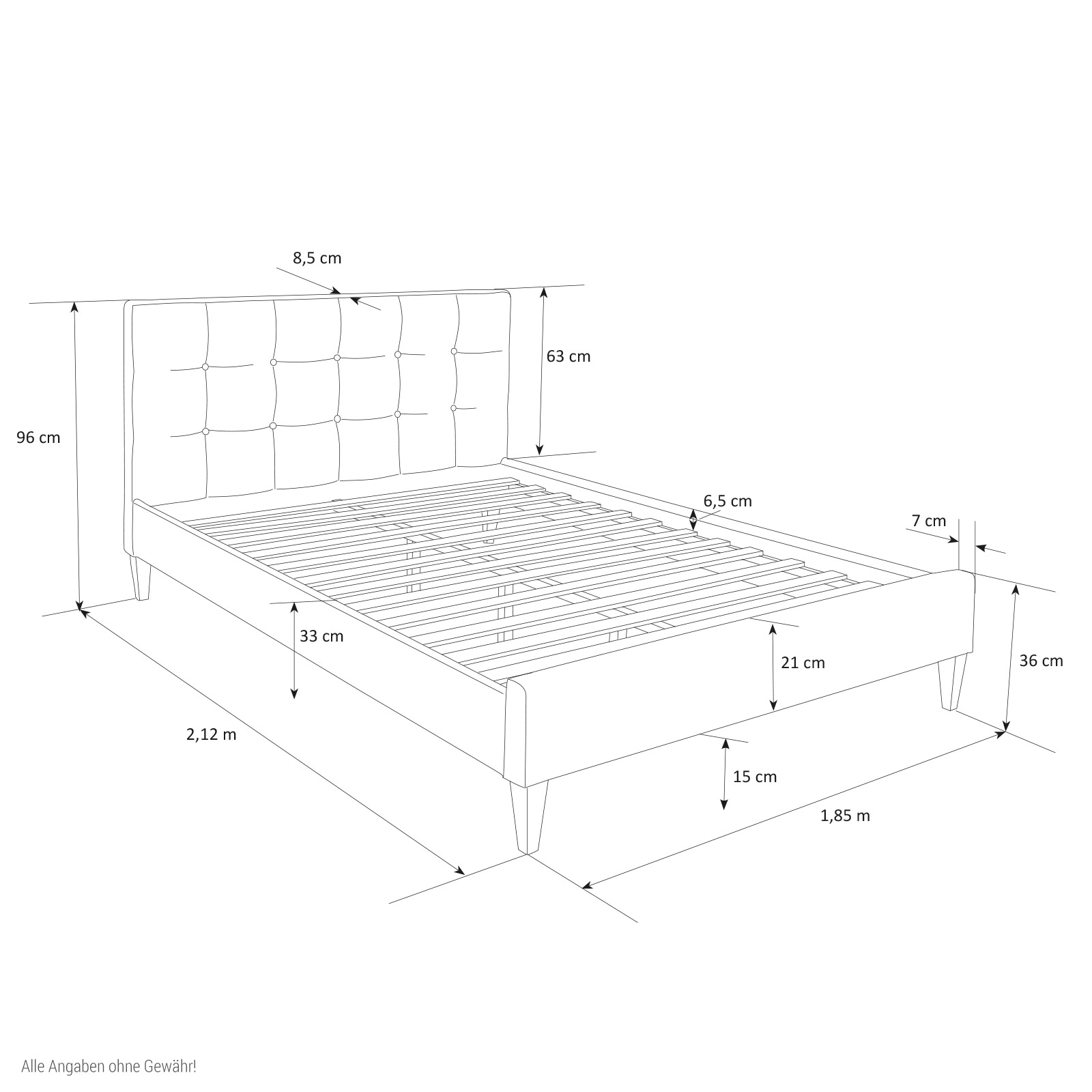 Fabric Bed Upholstered Bed Frame Super King 180 X 200