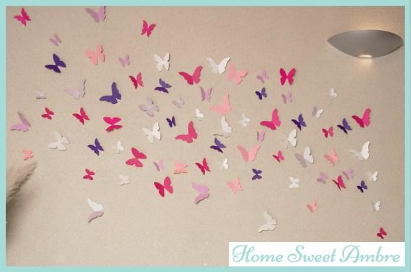 Envolée de papillons sur murs mariage