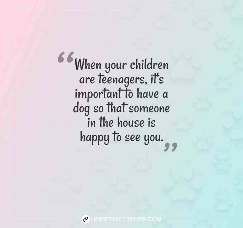 "Quote about dogs loyalty "" When your children are teenages, its important to have a dog so that someone in the house is happy to see you"""