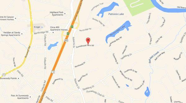 Northridge Sandy Springs GA Neighborhood Map Location