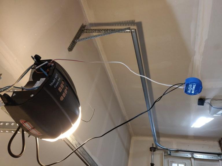 Smart Garage Door Opener connected up, before mounting