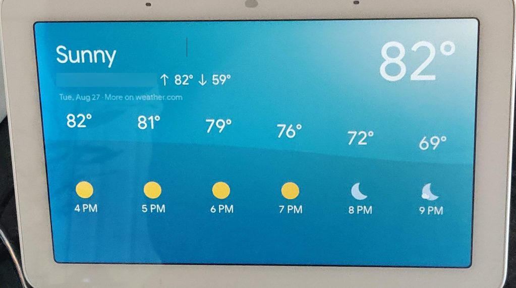 Google Nest Hub Weather display