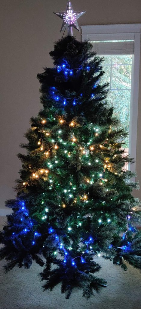 Blue and Gold WLED powered Christmas Tree