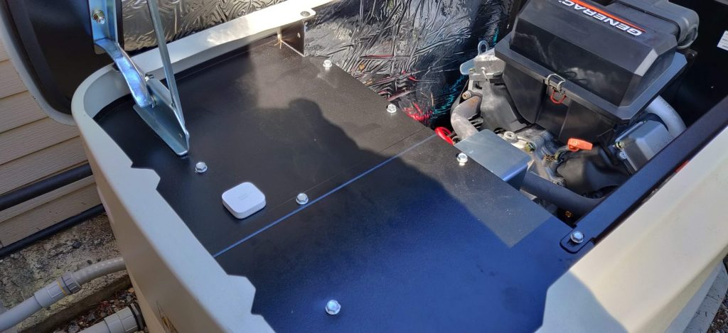 Vibration sensor installed inside the generator housing
