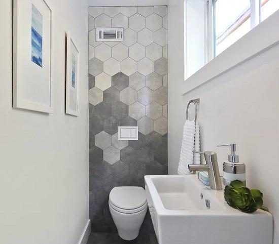 hexagon tile bathroom floor and wall pics