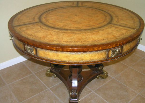 Maitland Smith Round Leather Top Table with 3 Drawers