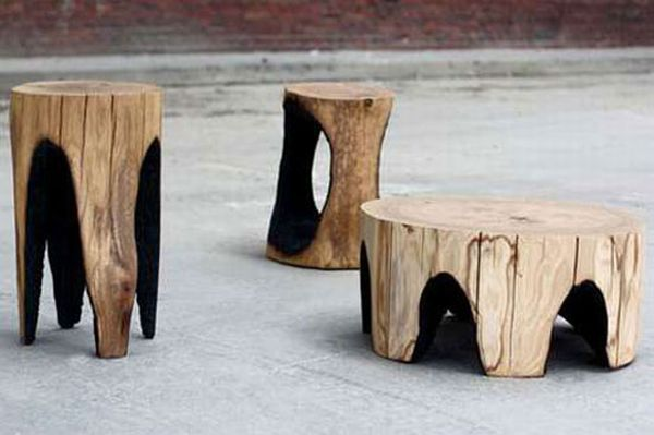 Seven recycled designs carved out of tree trunks for Burned wood furniture