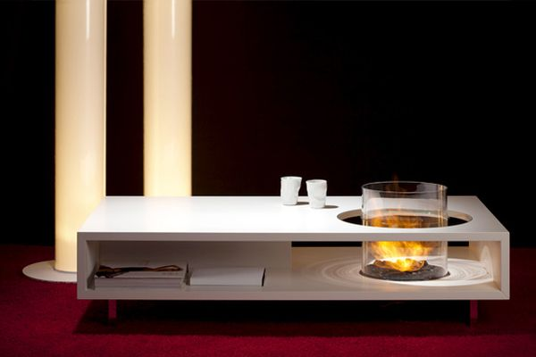 modern coffee tables with fireplace to