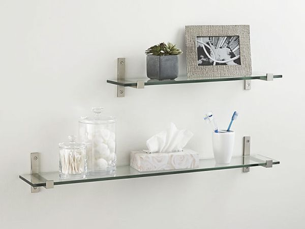 Crate and Barrel Styles Glass Floating Shelf with Brushed Silver Brackets Design