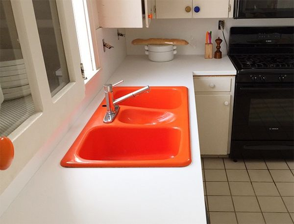 Bright colored kitchen sinks