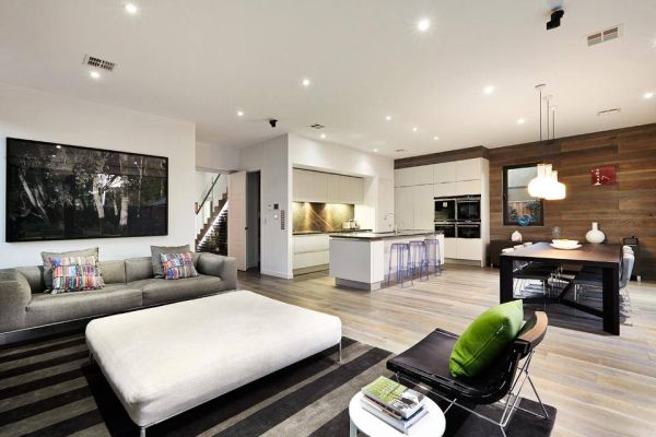 combination of the kitchen, lounge and living spaces