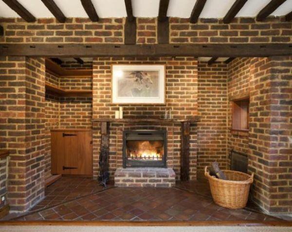 brick wall fireplace