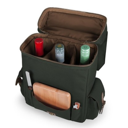 The Moreno Three Bottle Wine Cheese Tote is made from a durable 1200D polyester canvas construction with handsome leatherette accents. The top zipper compartment is insulated with adjustable dividers to hold three bottles.