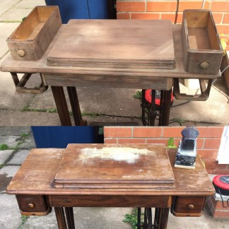 before and during sanding the damaged singer table