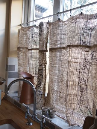 hessian potato sack repurposed curtain