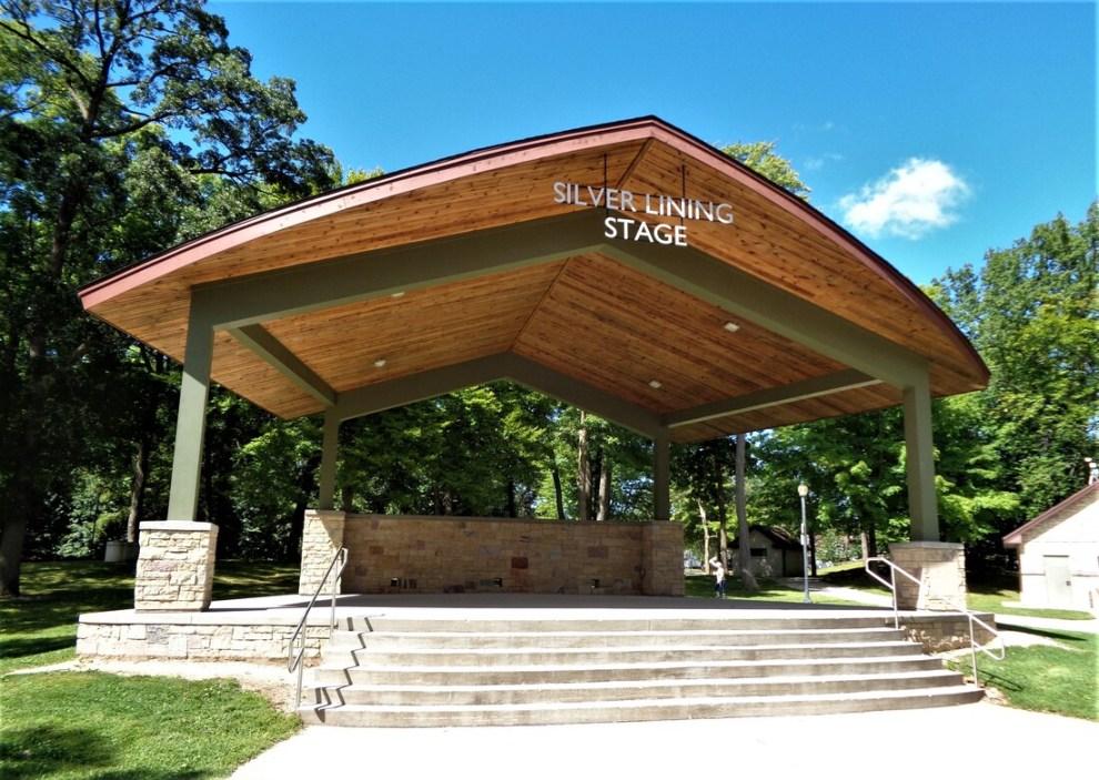 Regner Park, West Bend Silver Lining Stage. Photo credit: https://www.wibandshellsandstands.com