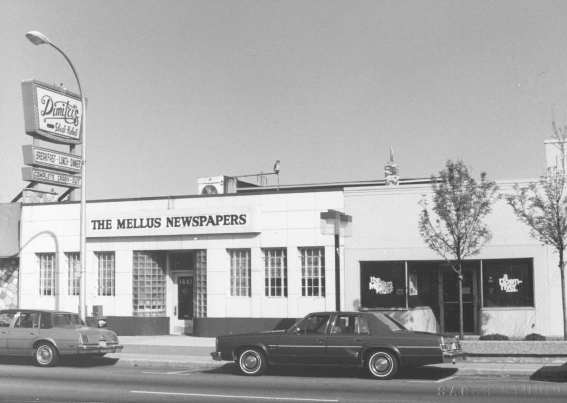 Built in 1941, the Mellus Building, wrapped in porcelain enamel, is an example of streamline moderne
