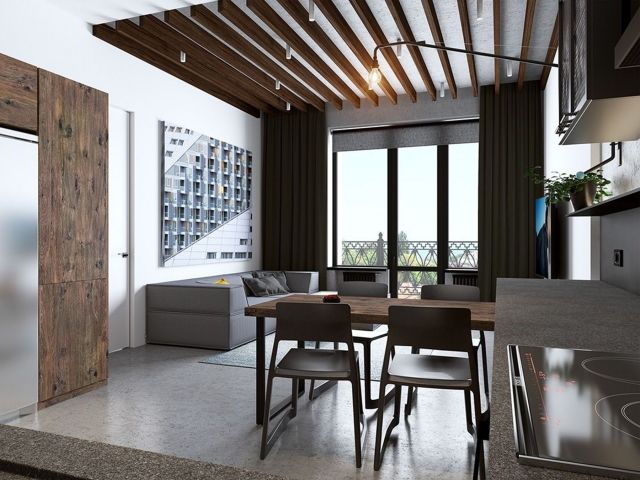 The concept is open in small apartments