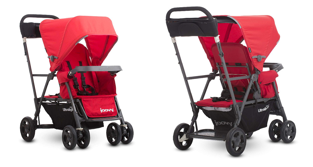Manufacturer's photos of the Joovy Caboose Ultralight Graphite double stroller from the front and the back. Best double stroller for travel 2019.