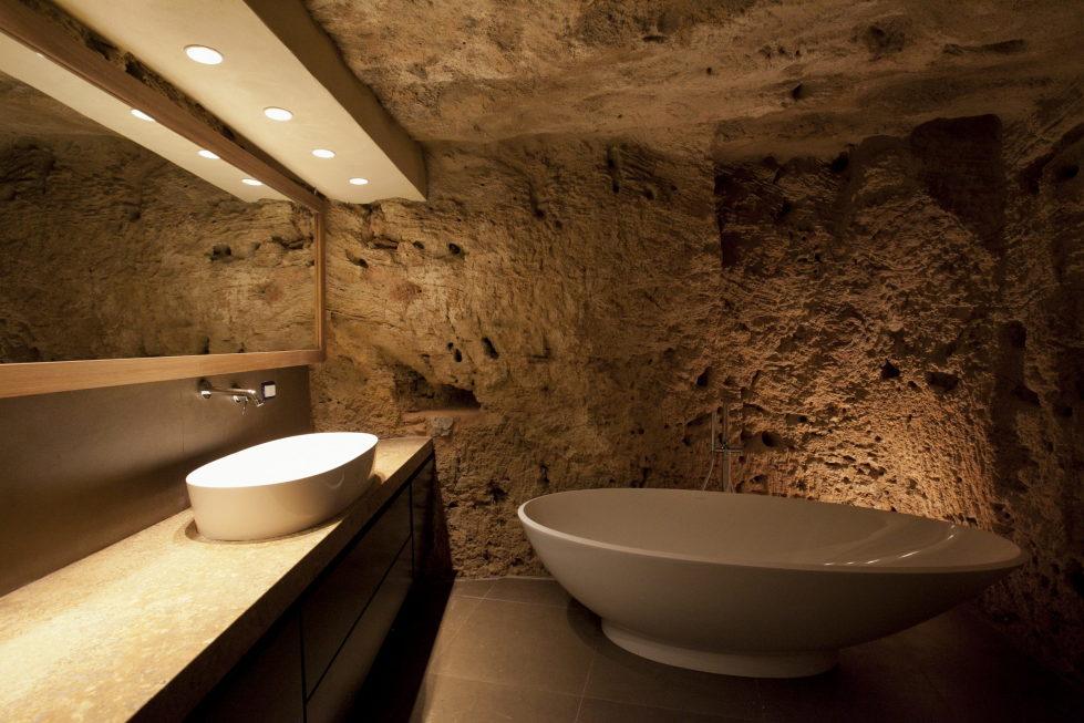 Cave House Sicily Italy bathroom vanities