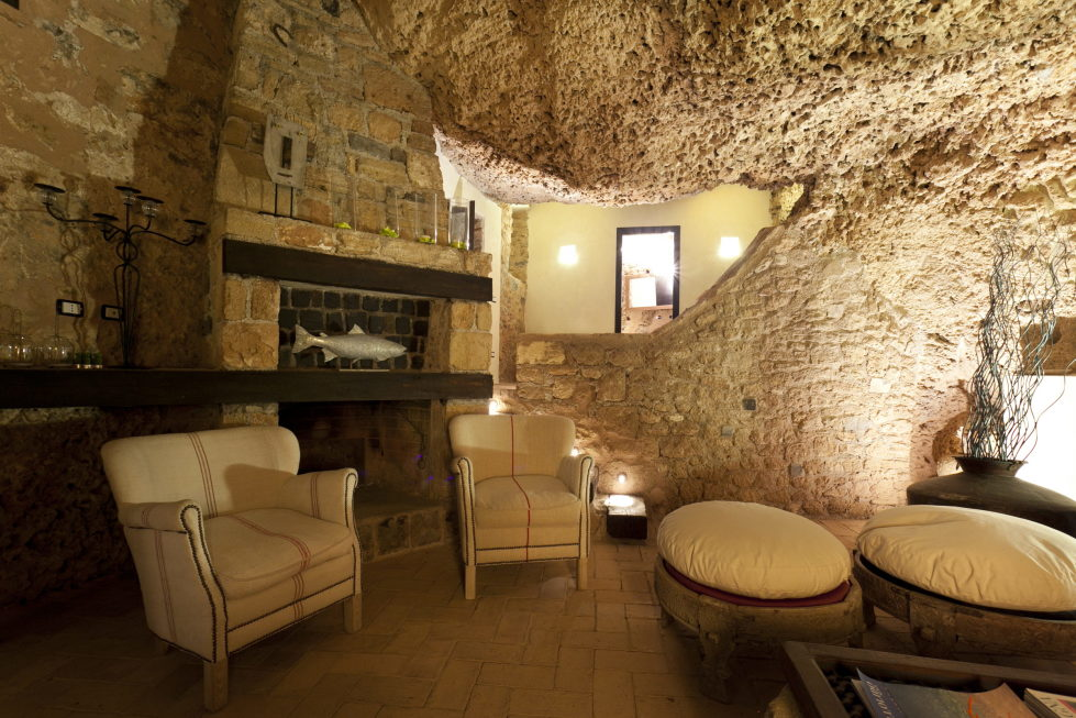 Cave House Sicily Italy fireplace