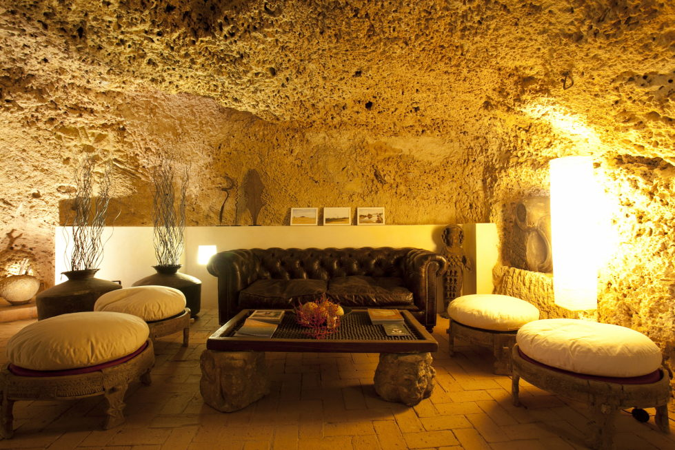 Cave House Sicily Italy living room
