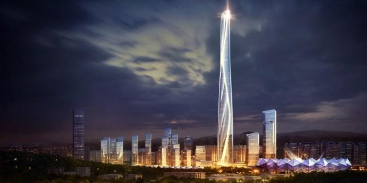 Shenzhen Hong Kong International Center night view