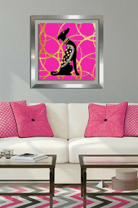 Pink and gold glam dog wal art.