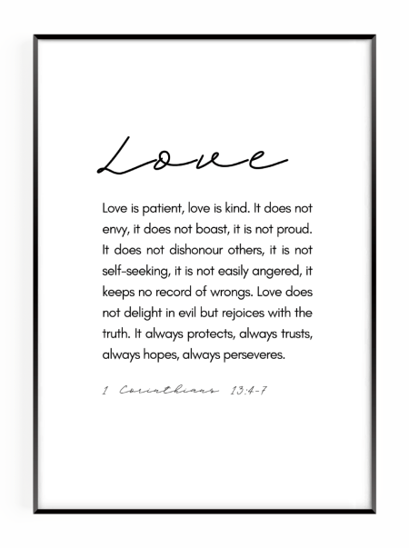 Love is patient christian wall art print